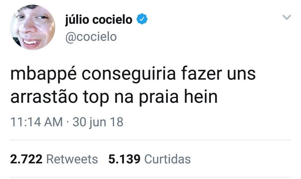 Comentário de Júlio Cocielo sobre Mbappé foi criticado por internautas (Foto: Reprodução/Twitter)