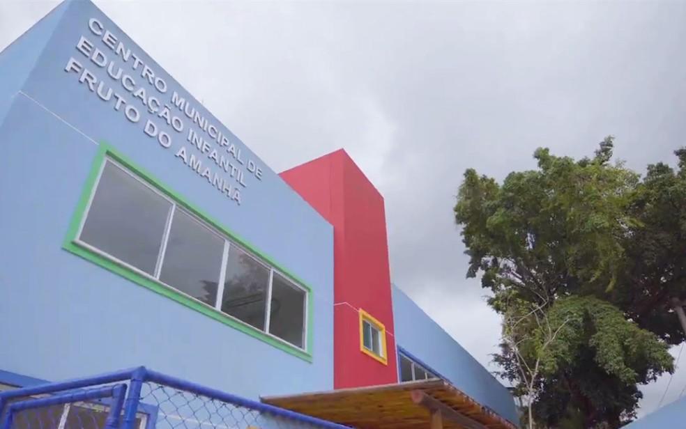 Centro Municipal de Educação Infantil Fruto do Amanhã, na Fazenda Grande do Retiro, em Salvador  — Foto: Reprodução/Redes Sociais