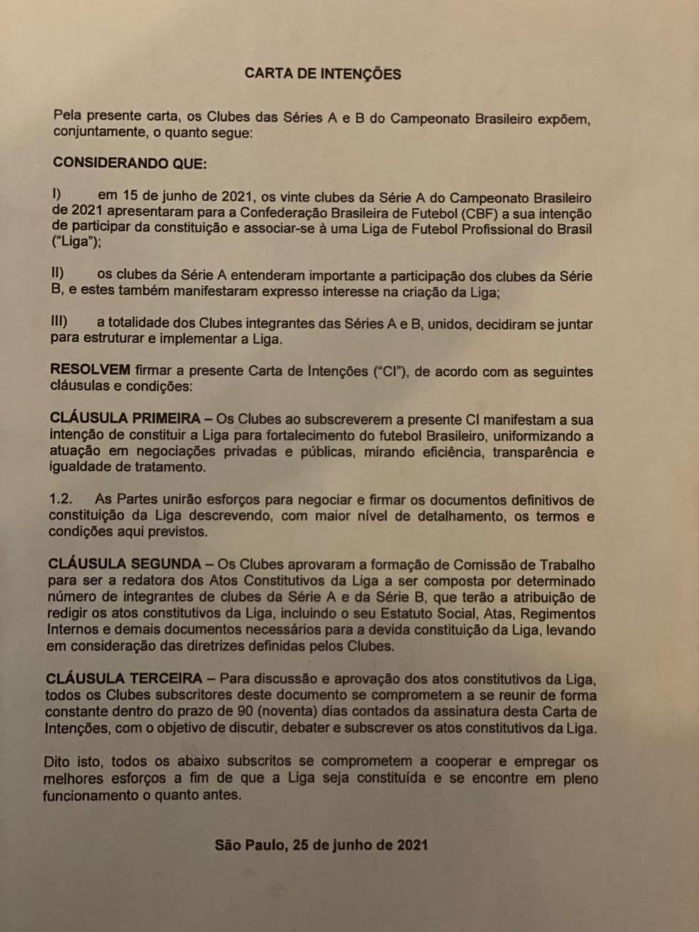 Carta de intenções para a criação da liga — Foto: Reprodução