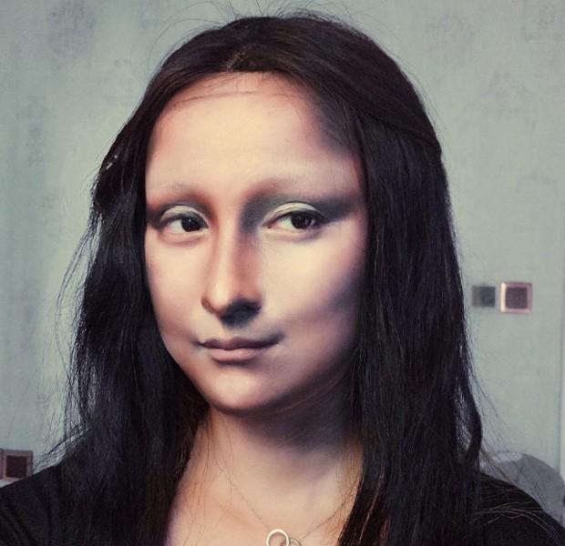 Caracterização como Monalisa, de Da Vinci (Foto: Reprodução)