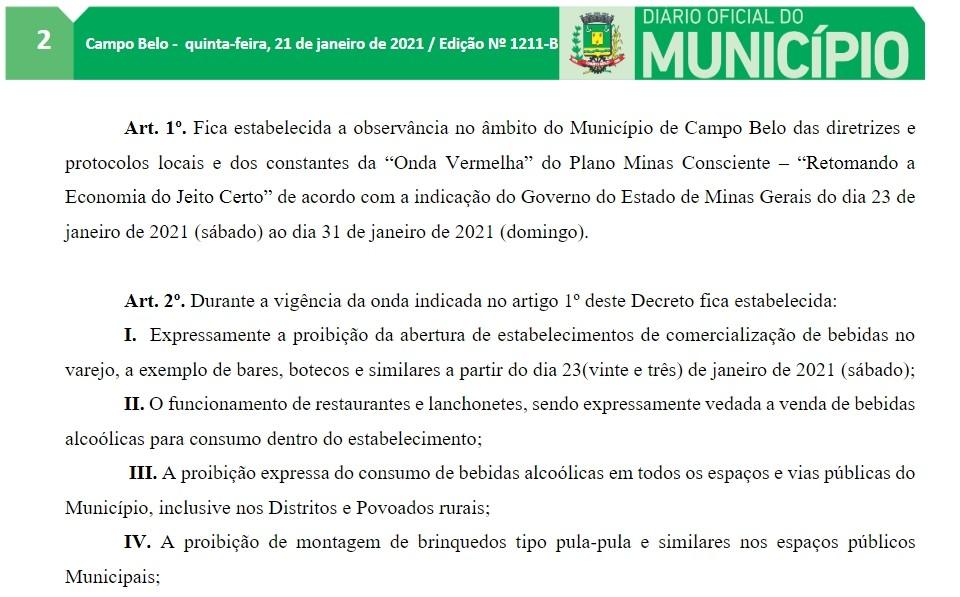 Campo Belo entra na onda vermelha e decreto impõe restrições a alguns setores do comércio