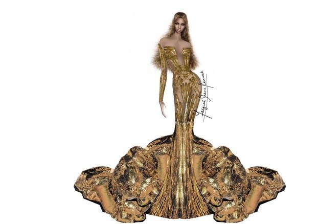 Os detalhes do vestido de Beyoncé para o Wearable Art Gala 2018 (Foto: Reprodução/WWD)