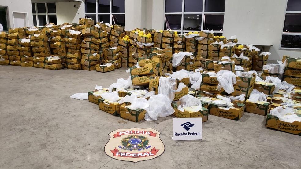 Droga foi apreendida em Natal em carregamento de melões — Foto: Divulgação