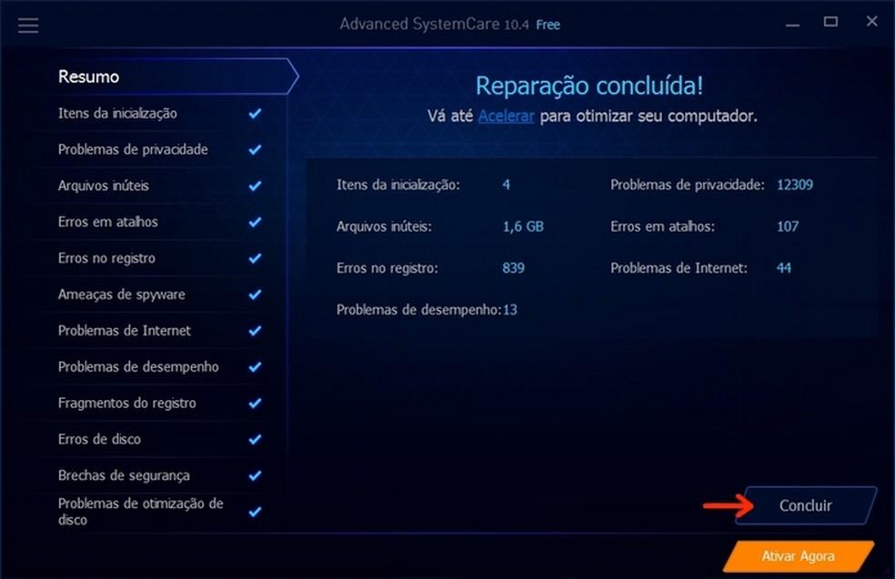 Correção de problemas do Windows feita pelo Advanced SystemCare (Foto: Reprodução/Raquel Freire)