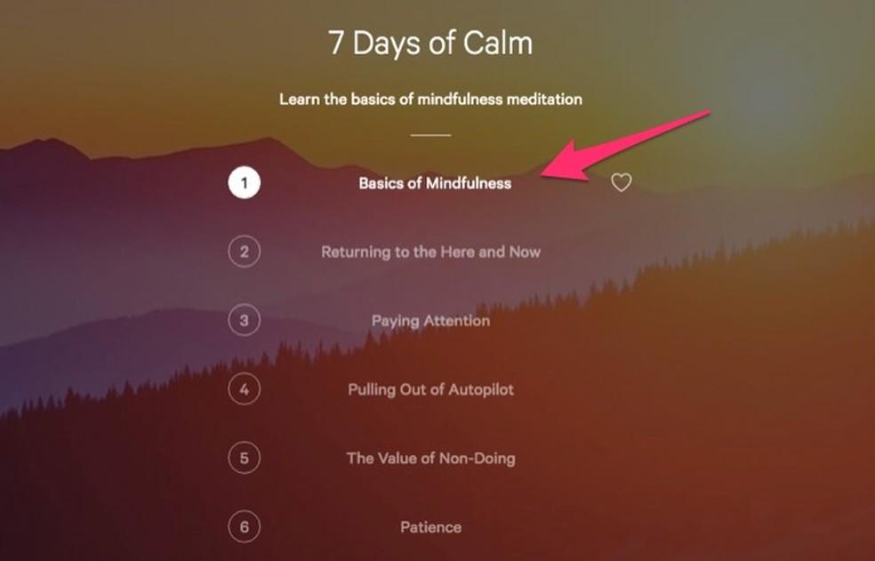 Ação para escolher um dos conteúdos para o pacote de aulas de meditação no serviço online Calm ? Foto: Reprodução/Marvin Costa