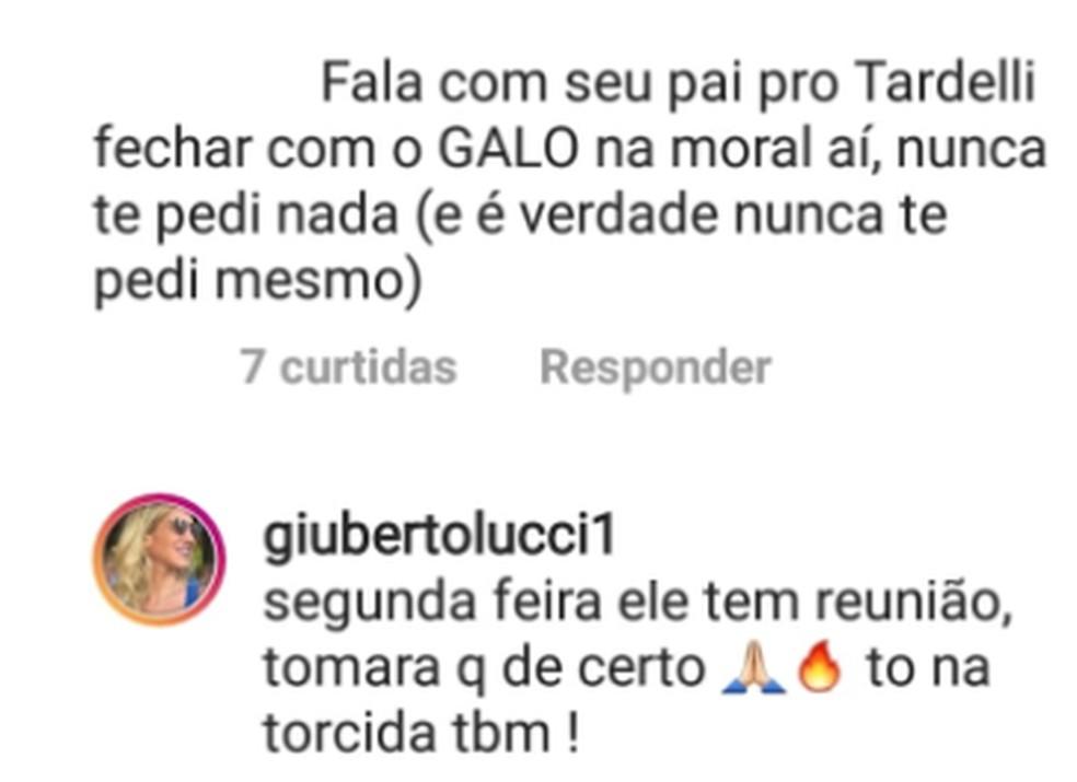 Giulia Bertolucci disse que Bertolucci e Atlético-MG vão se reunir na segunda por Tardelli — Foto: Reprodução/Internet