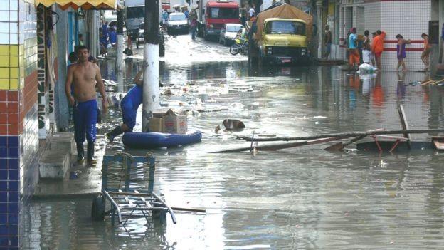'Quando o rio ultrapassa o nível de 29 metros na régua, Manaus começa a inundar, e é aí que se declara o estado de emergência', diz o pesquisador chileno Jonathan Barichivich (Foto: JOCHEN SHONGART/INPA/BBC)
