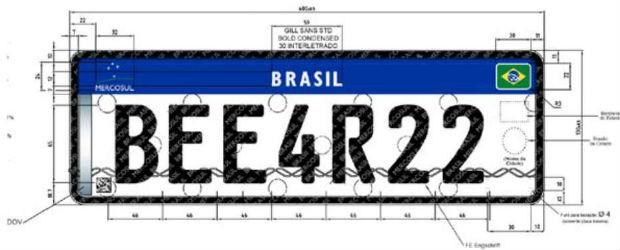 Nova placa de identifição padrão Mercosul (Foto: Divulgação)