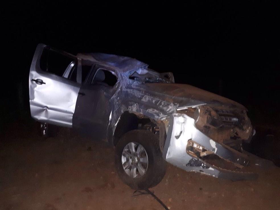 Mulher morreu e três pessoas ficaram feridas no acidente (Foto: Corpo de Bombeiros de Tangará da Serra-MT/ Divulgação)