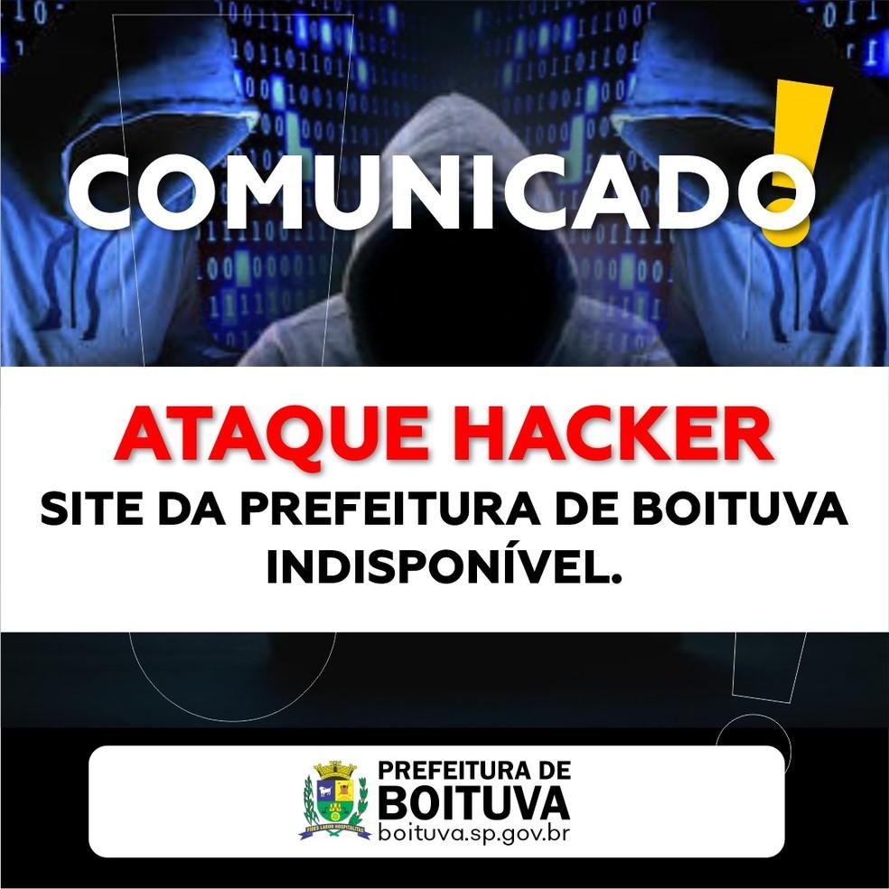 Site da Prefeitura de Boituva fica fora do ar após ataque hacker — Foto: Prefeitura de Boituva/Divulgação