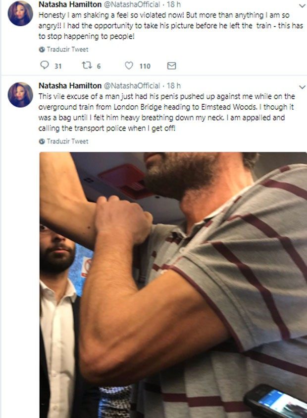 Natasha Hamilton posta foto de assediador em Twitter (Foto: Reprodução)