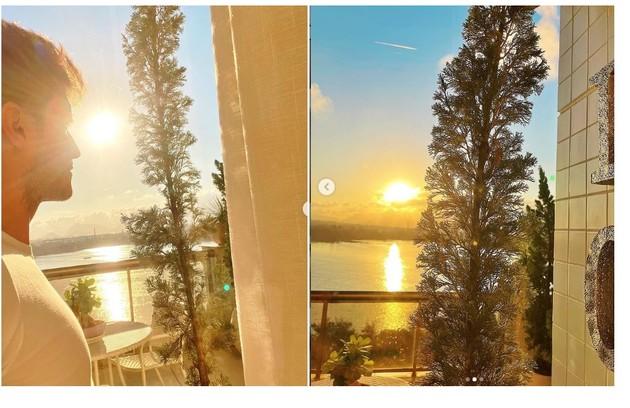 Klebber mostra a vista da varanda, de onde também faz home office (Foto: Reprodução)