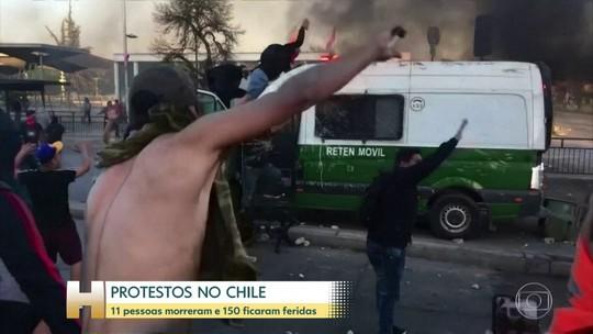 Onze pessoas morrem e 150 ficam feridas durante protestos no Chile