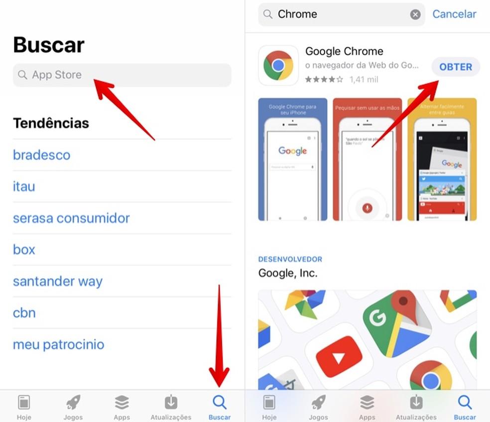 Instalando o Chrome no iPhone (Foto: Reprodução/Helito Bijora)