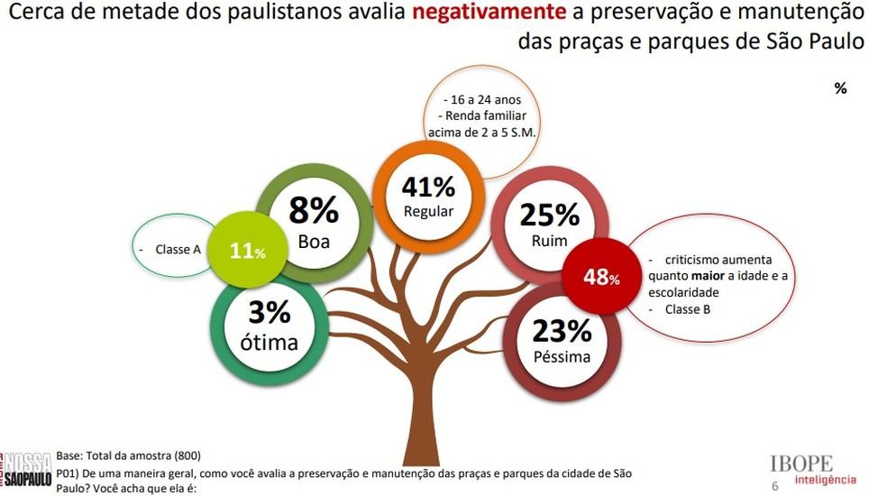 Metade dos paulistanos avalia negativamente a preservação das praças e parques de São Paulo (Foto: Divulgação/Rede Nossa São Paulo )