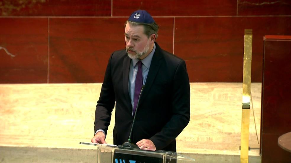 Toffoli participa de evento da Congregação Israelita Paulista — Foto: Reprodução/TV Globo