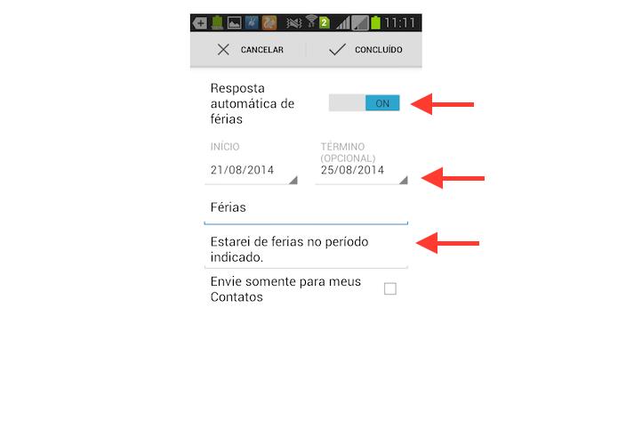 Configurando uma mensagem de férias no aplicativo do Gmail para Android (Foto: Reprodução/Marvin Costa)