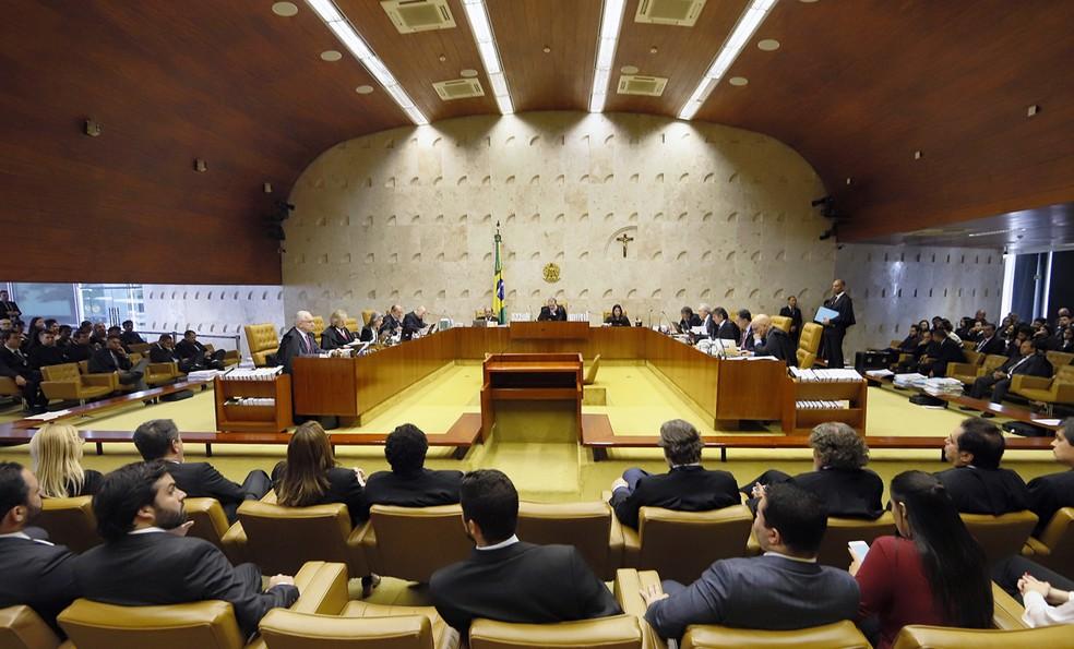 Supremo reunido: Toffoli disse que levará ao plenário, ainda este ano, a ação que discute se condenados pelo Tribunal do Júri podem recorrer em liberdade — Foto: Fellipe Sampaio/SCO/STF