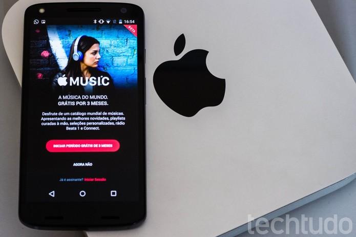 Apple Music no Android possui interface parecido com a do iOS  (Foto: Alessandro Junior/TechTudo)