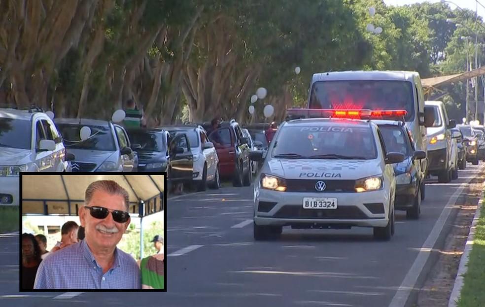 Prefeito Antônio Carlos Vaca é enterrado em Borebi — Foto: TV TEM/Reprodução