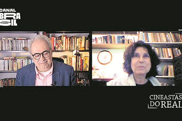 Amir Labaki entrevista a diretora Ana Carolina (Foto: Arquivo pessoal)