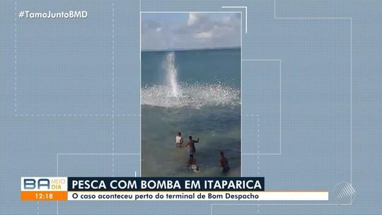 VÍDEO: Grupo é flagrado usando bomba para pescar na Ilha de Itaparica, na Bahia