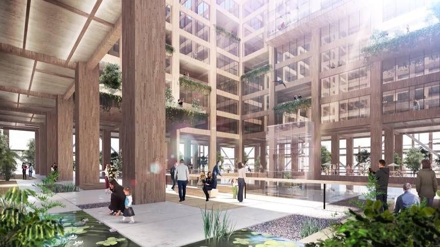 Interior do prédio, que terá apenas 10% de aço em sua estrutura. (Foto: Sumitomo Forestry Co)