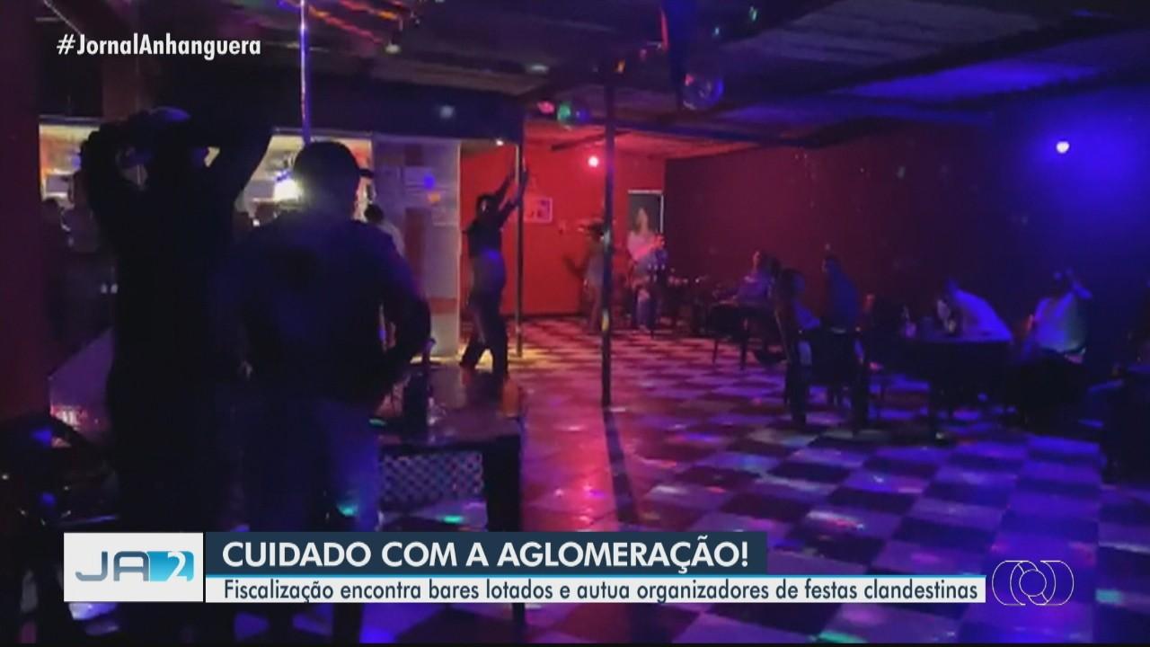 Fiscalização encontra bares lotados e acaba com festas clandestinas, em Goiânia