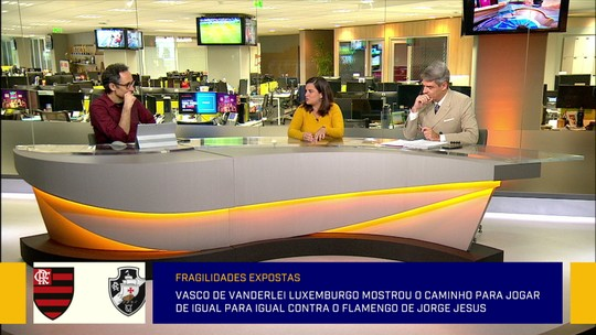 """Redação aponta virtude do Vasco contra o Flamengo: """"Atacantes estavam em função de deslocar os zagueiros"""""""