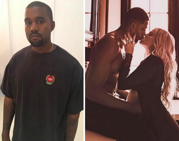 O músico Kanye West e sua cunhada Khloé Kardashian com o namorado, o jogador de basquete Tristan Thompson (Foto: Instagram)