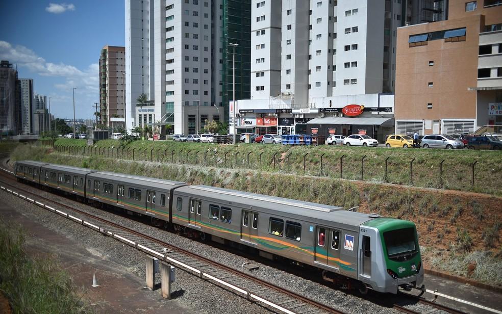 Metrô do Distrito Federal no trecho de Águas Claras — Foto: André Borges/Agência Brasília