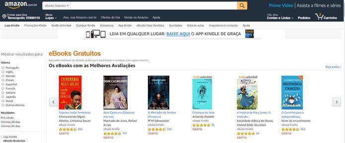 Amazon disponibiliza e-books gratuitos aos consumidores (Foto: Reprodução/Amazon)