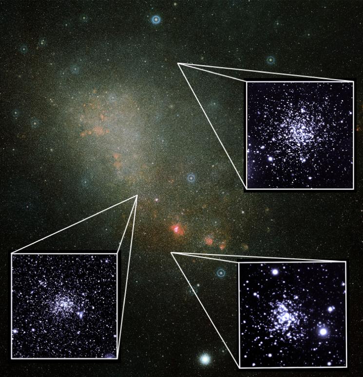 Três grupos estelares na Pequena Nuvem de Magalhães observados pela equipe de astrônomos brasileiros (Foto: ESA/Hubble, VISCACHA, Sociedade Astronômica Brasileira/ Divulgação)
