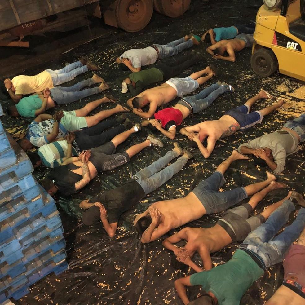 De acordo com a polícia, 19 pessoas foram presas na operação; Além da droga, foram apreendidos carros, dinheiro, celulares, caminhões e uma empilhadeira. — Foto: Polícia Federal/Divulgação