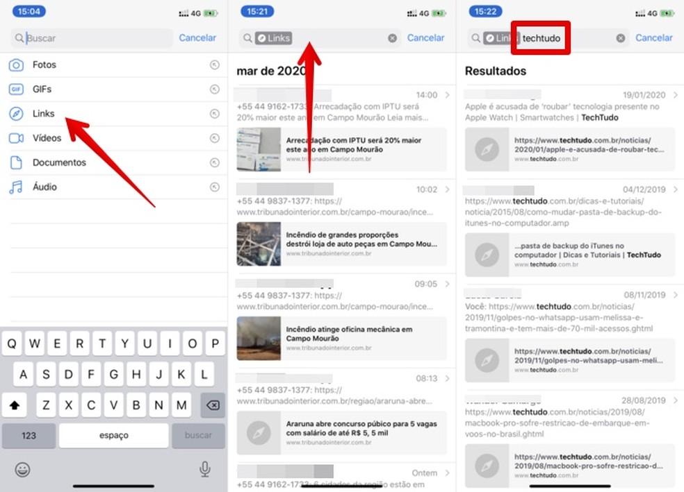 Pesquisando links no WhatsApp — Foto: Reprodução/Helito Beggiora