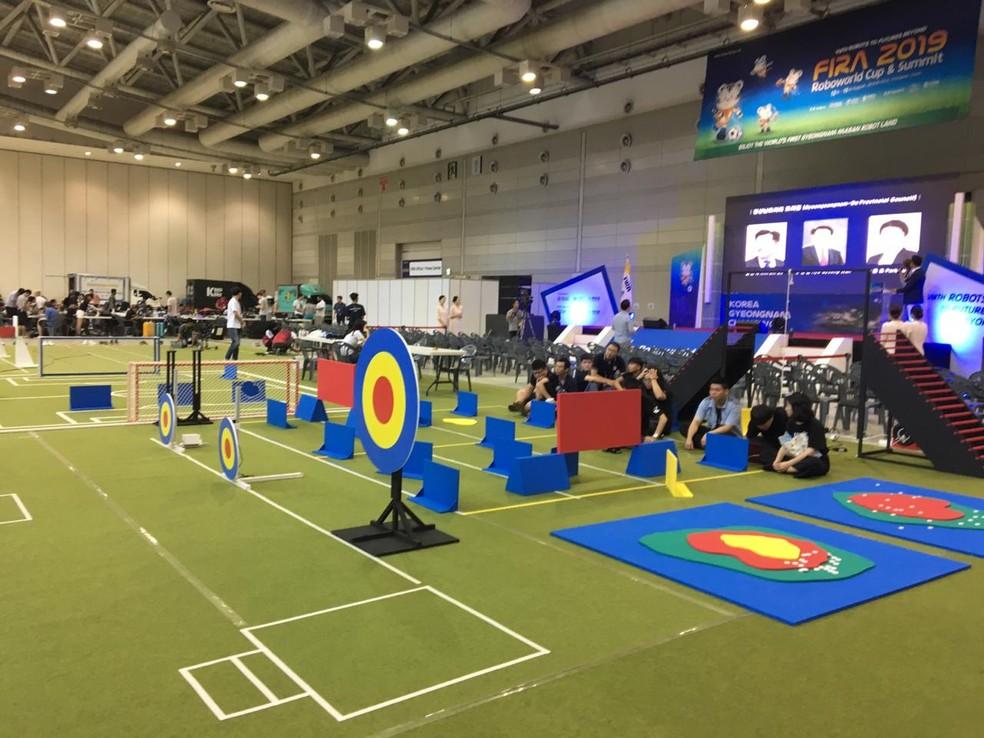 Arena de competição da FIRA RoboWorldCup 2019, na Coréia do Sul — Foto: Divulgação/IEMA