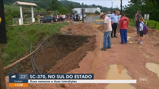SC-370 volta a ser interditada por causa da chuva no Sul do estado