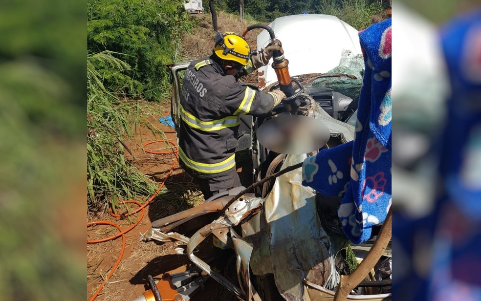 Acidente com carro de família deixa pai e filha de 10 anos mortos na BR-020, em Formosa  â?? Foto: Corpo de Bombeiros/Divulgação