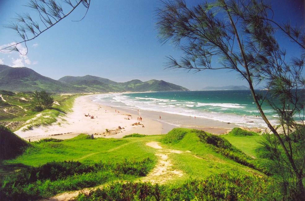 Praia do Siriu em Garopaba, no Sul de SC — Foto: Santur/Divulgação