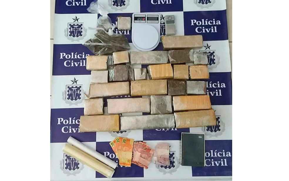 Nove quilos de maconha foram apreendidos com argentino (Foto: PolAi??cia Civil)