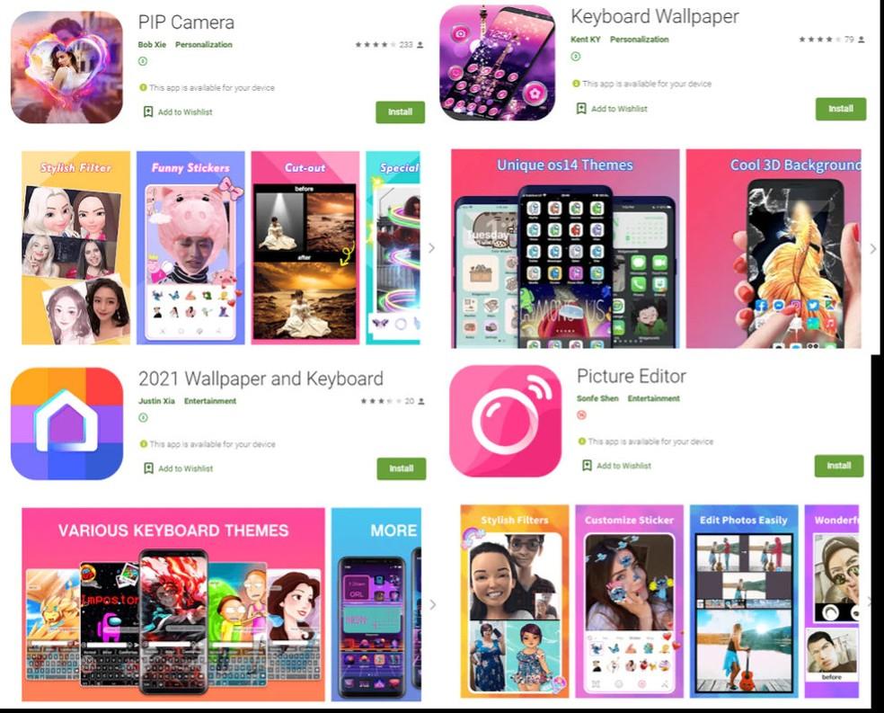 Apps encontrados pela McAfee na Play Store receberam atualização com código que assinava serviços por SMS sem autorização do usuário.  — Foto: Reprodução/McAfee