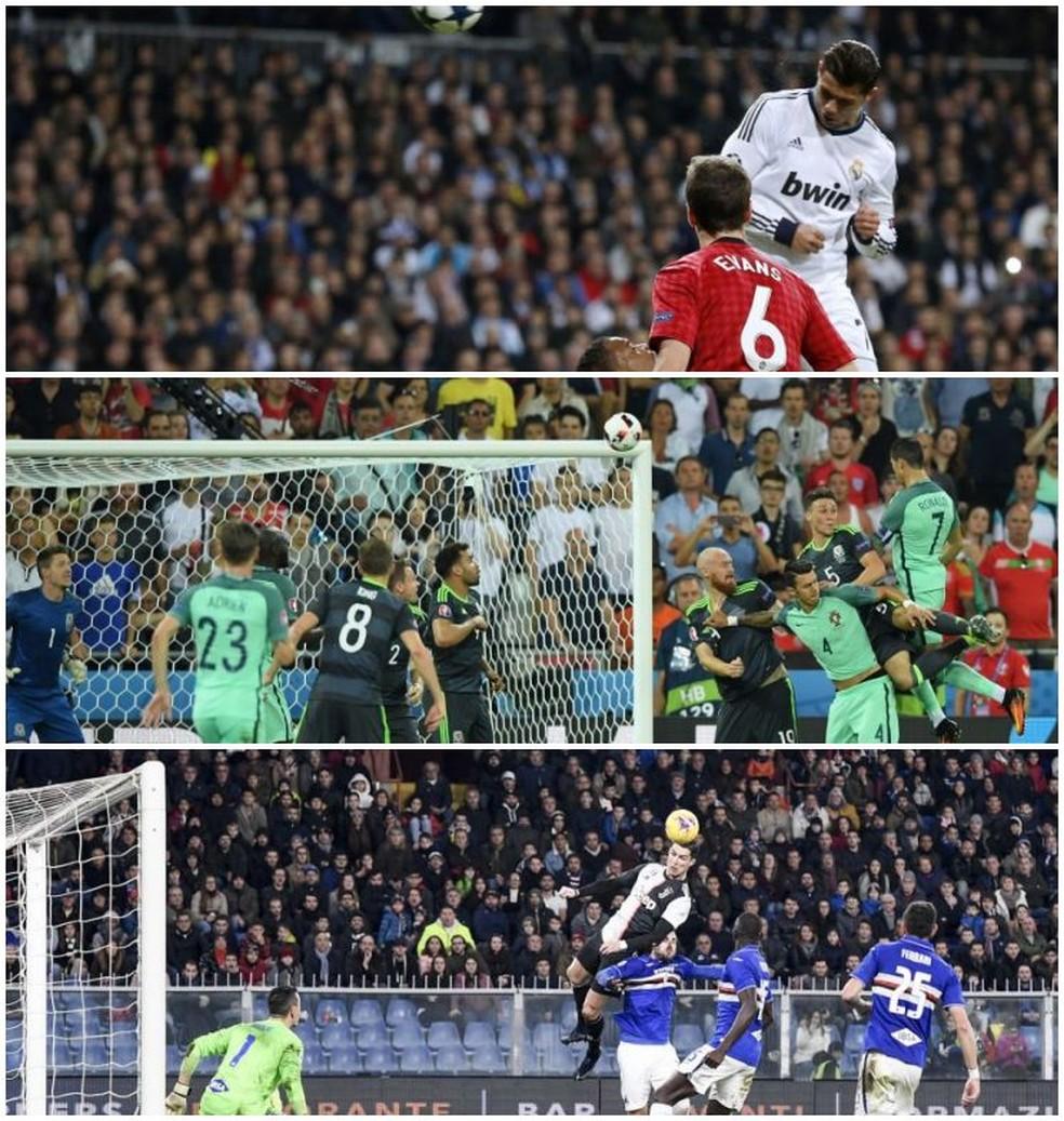 Gols de cabeça de Cristiano Ronaldo por Real Madrid, Portugal e Juventus — Foto: Montagem com fotos da Getty Images e AFP