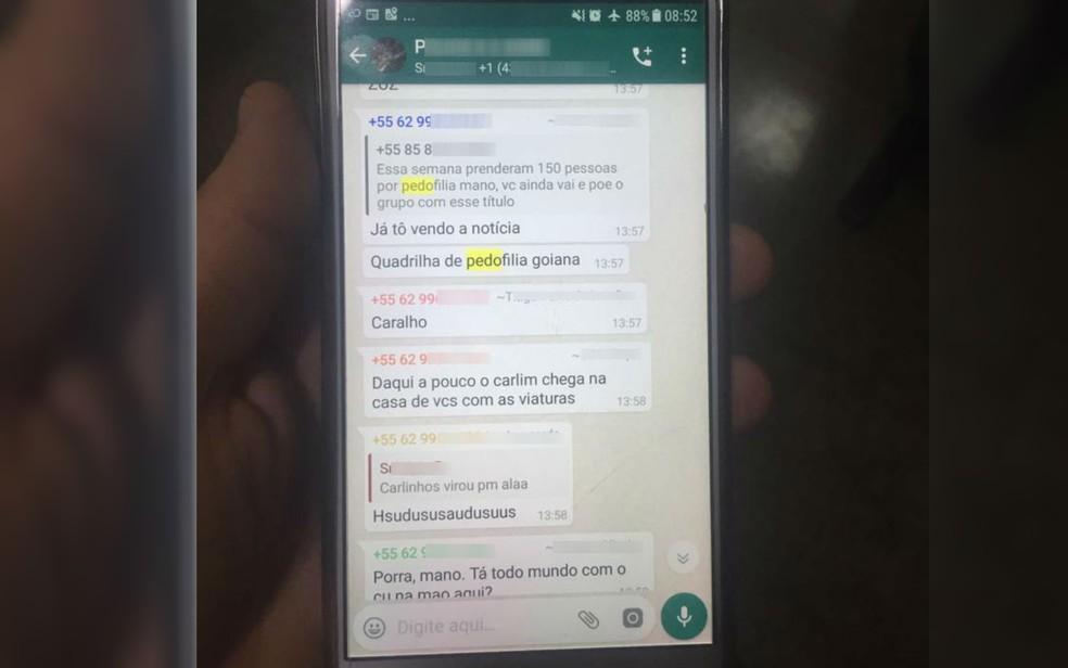 Conversa em celular de preso que mostra deboche a operação contra pedofilia — Foto: Polícia Civil/Divulgação