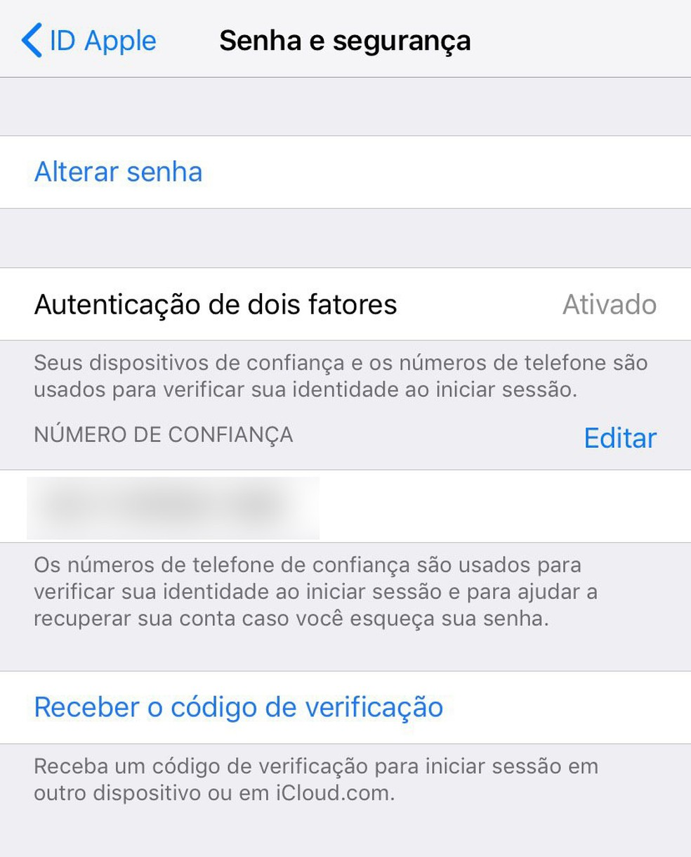 Ative a autenticação em dois fatores também na Apple ID. — Foto: Reproduçã/G1