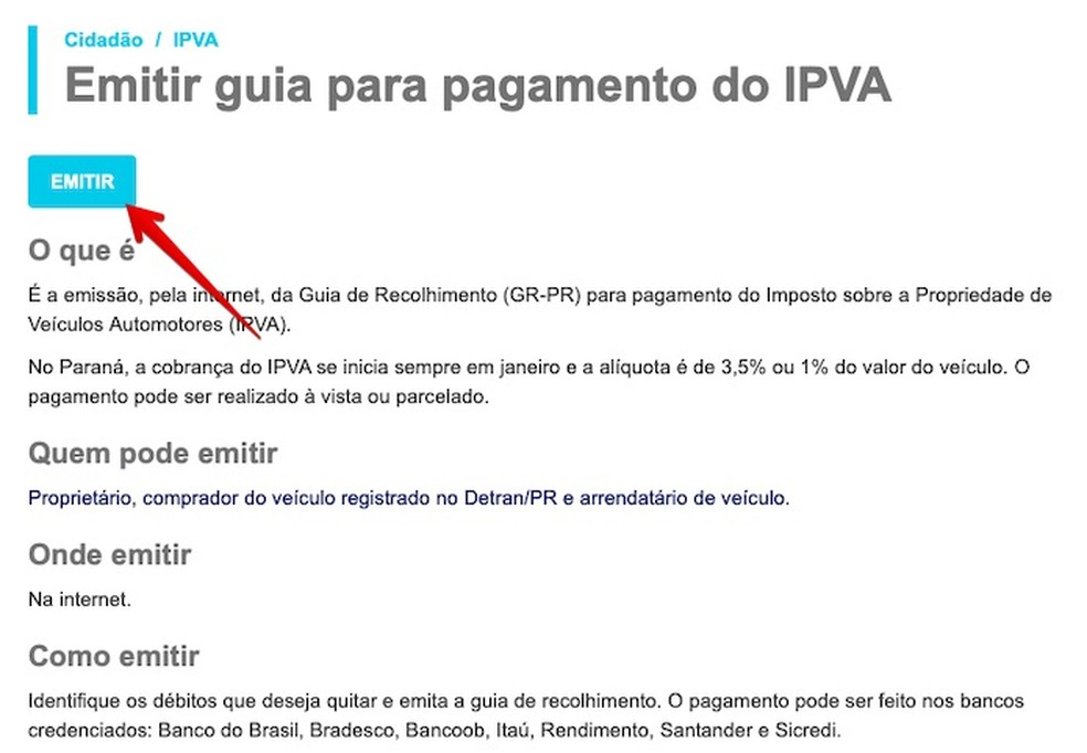 Emitindo guia de pagamento do IPVA 2021 — Foto: Reprodução/Helito Beggiora