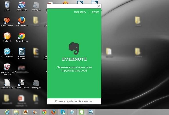 Versão do Evernote para Android rodando no Windows 8 (Foto: Reprodução/Raquel Freire)