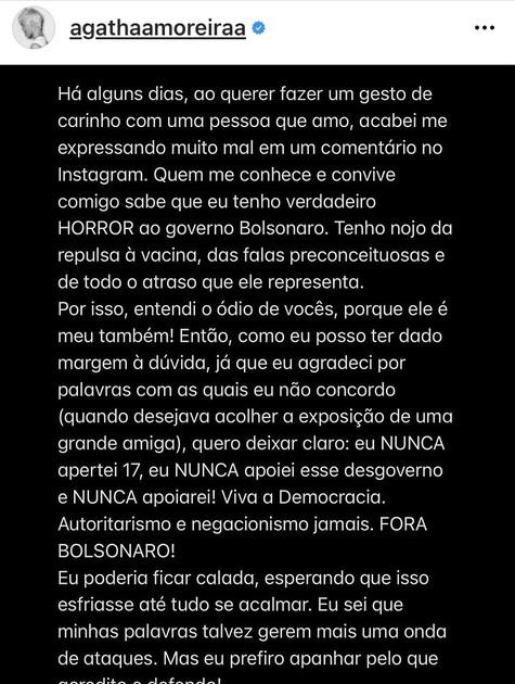 Postagem de Agatha Moreira  (Foto: Reprodução)