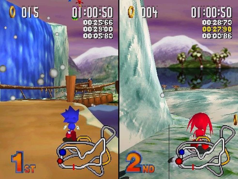 """Sonic R traz uma versão """"travada"""" do corredor mais rápido dos games — Foto: Reprodução/Marcos Silva"""