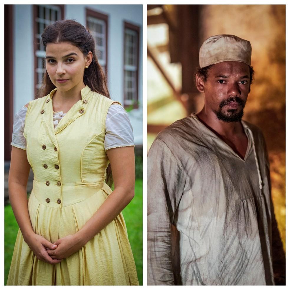 O casal protagonista Pilar e Samuel, interpretado por Gabriela Medvedovski e Michel Gomes, em 'Nos Tempos do Imperador — Foto: TV Globo/Paulo Belote