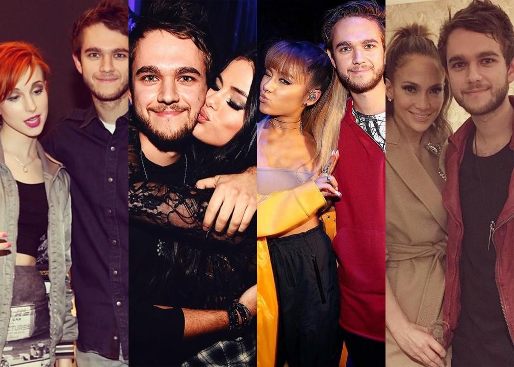 Zedd com Hayley Williams, Selena Gomez, Ariana Grande e Jennifer Lopez: ele gravou com as três primeiras e fez um mashup para J-Lo (Foto: Reprodução/Instagram/Zedd)